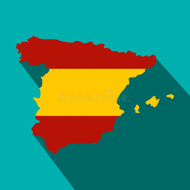 Map Of Spain In Spanish Flag Colors Icon Stock ...