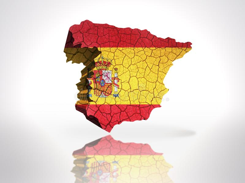 Map of Spain. With Spanish Flag on a white background stock illustration