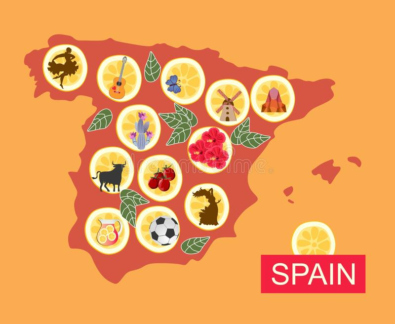 Map of Spain with various national symbols on pieces of lemon.  vector illustration