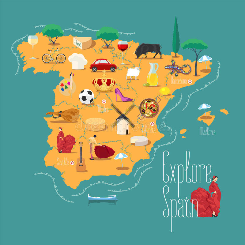 Map of Spain vector illustration, design element. Icons with Spanish famous landmark and culture. Explore Spain concept image stock illustration