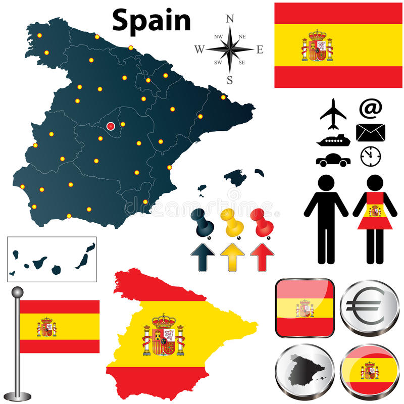 Download Map of Spain stock vector. Image of earth, national, euro - 30401041