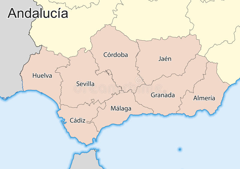 Map Of The Spanish Autonomous Community Of Andalusia Stock