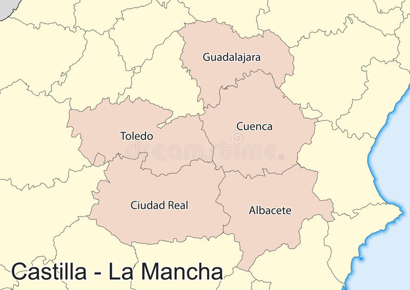 Map Of The Spanish Autonomous Community Of Castilla La Mancha Stock