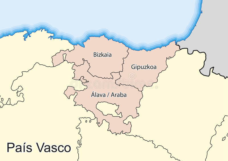 Map Of The Spanish Autonomous Community Of Pais Vasco Stock