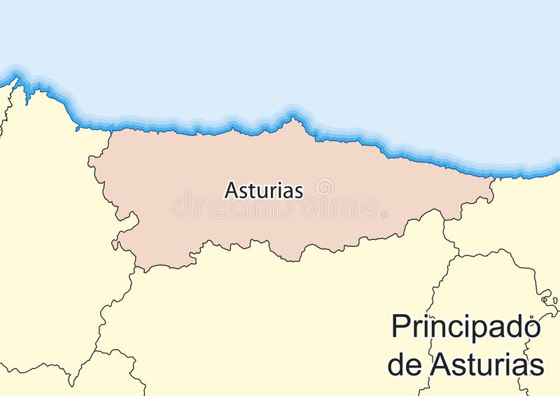 Map Of The Spanish Autonomous Community Of Principado De Asturias
