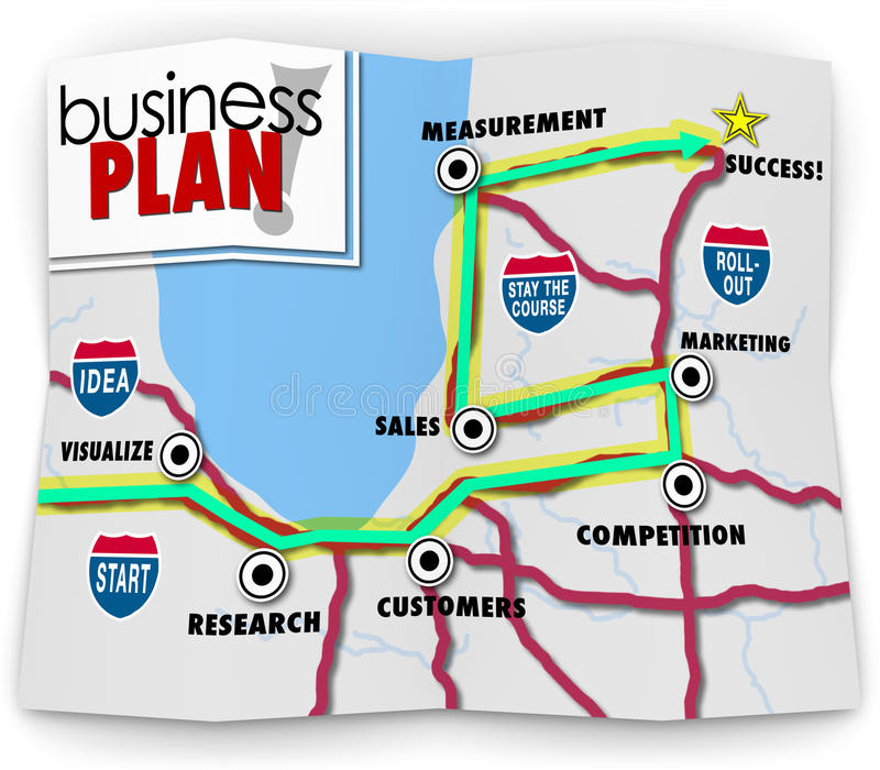 Map Start Up Success Road Directions Launch New Business Company 皇族释放例证