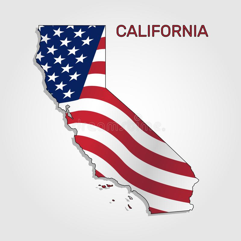 Map of the state of California in combination with a waving the flag of the United States - Vector royalty free illustration