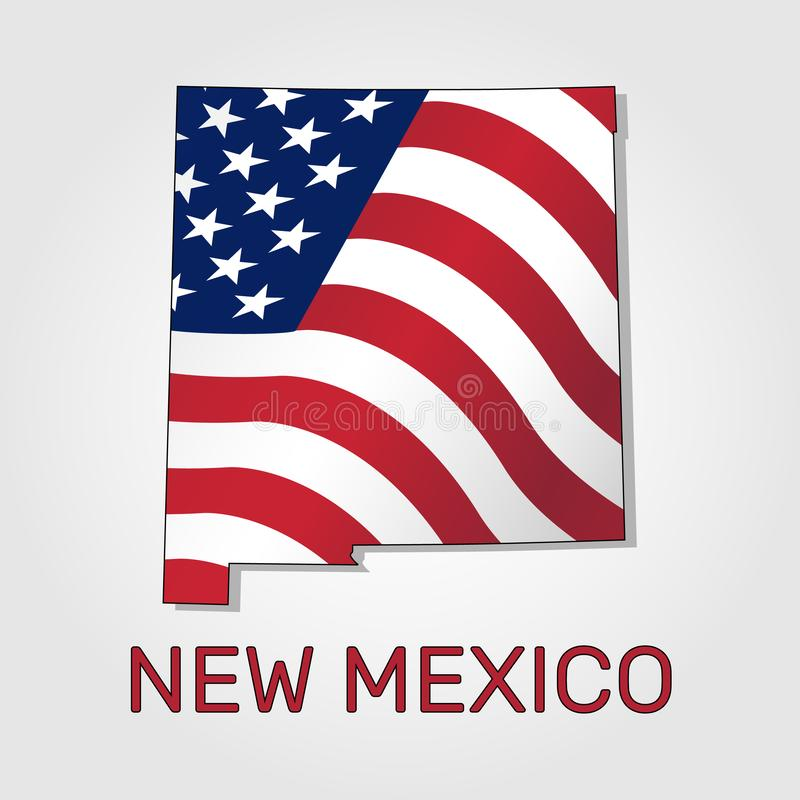 Map of the state of New Mexico in combination with a waving the flag of the United States - Vector stock illustration