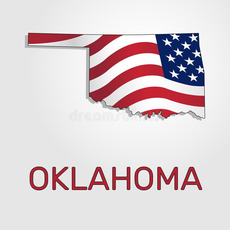 Map of the state of Oklahoma in combination with a waving the flag of the United States - Vector royalty free illustration