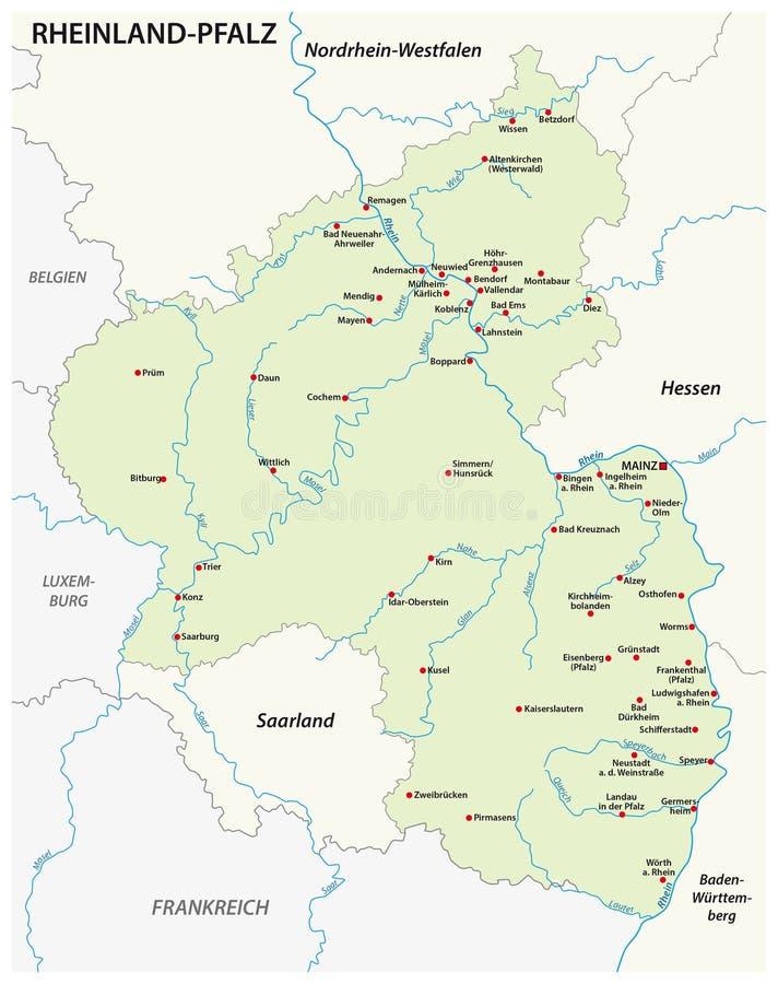 Map Of The State Of RhinelandPalatinate Map In German Language