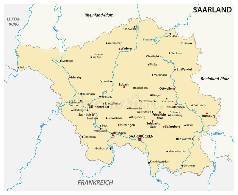 Map of the state of saarland with the most important cities in download map of the state of saarland with the most important cities in german language stock gumiabroncs Images