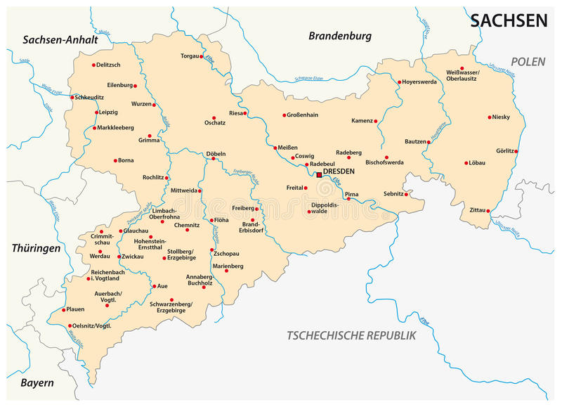 download map of the state saxony with the most important cities in german language stock vector
