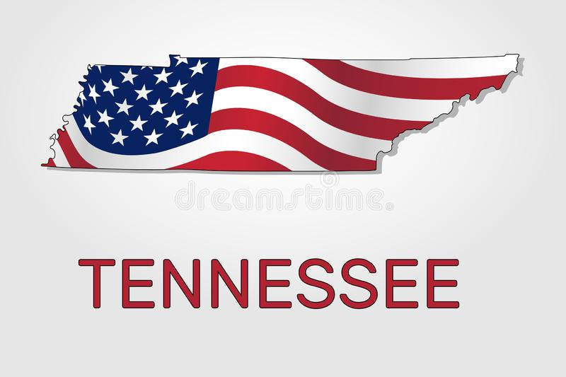 Map of the state of Tennessee in combination with a waving the flag of the United States - Vector royalty free illustration