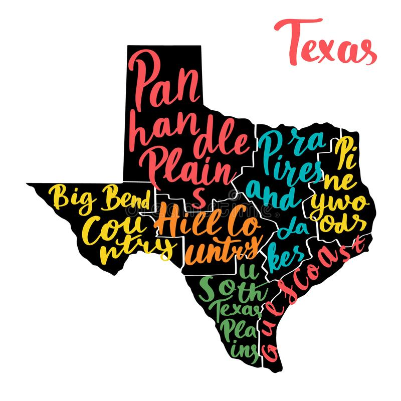 Map of state Texas, USA with colorful hand-written names of regions. Vector typography poster vector illustration