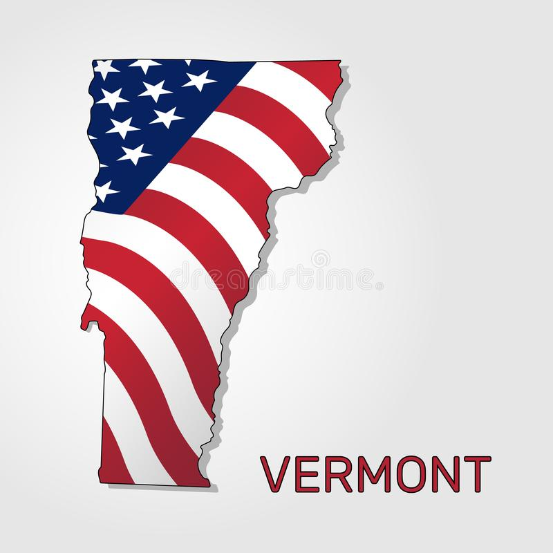 Map of the state of Vermont in combination with a waving the flag of the United States - Vector vector illustration