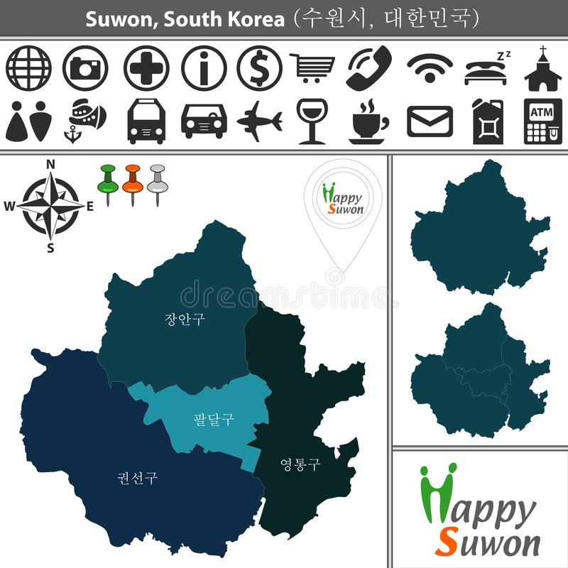 Map of Suwon with Districts. Vector map of Suwon with named districts and travel icons. Districts are signed in original korean language vector illustration