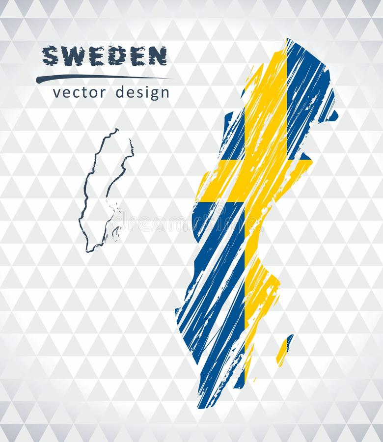 Map of Sweden with hand drawn sketch map inside. Vector illustration royalty free illustration