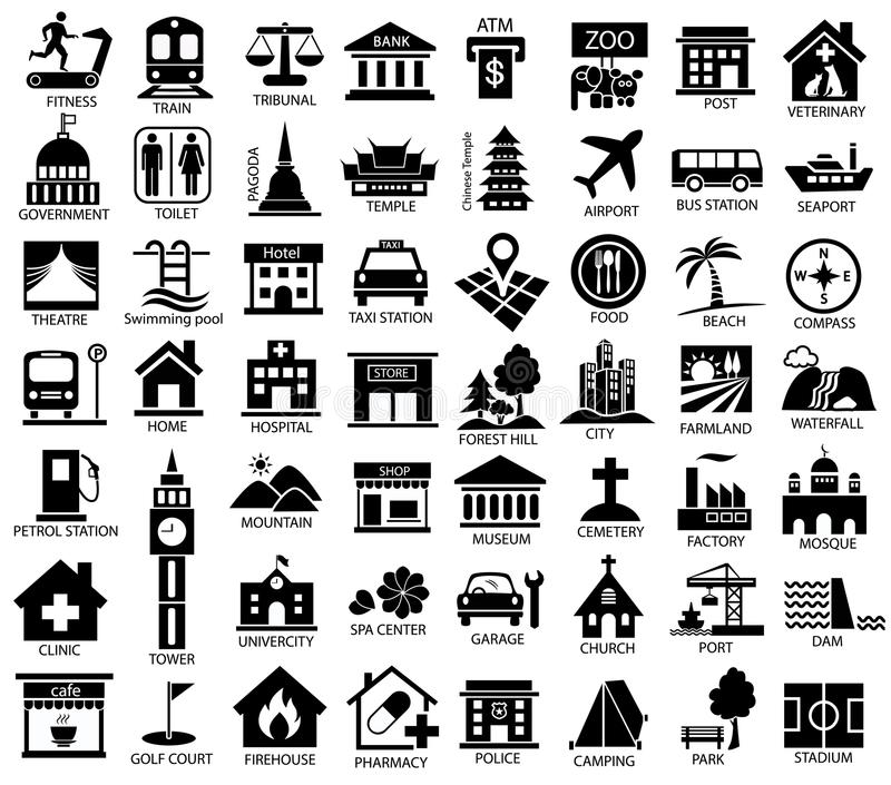 Map symbol icon set. Place of government, official, travel, transport, relaxation, museum vector illustration