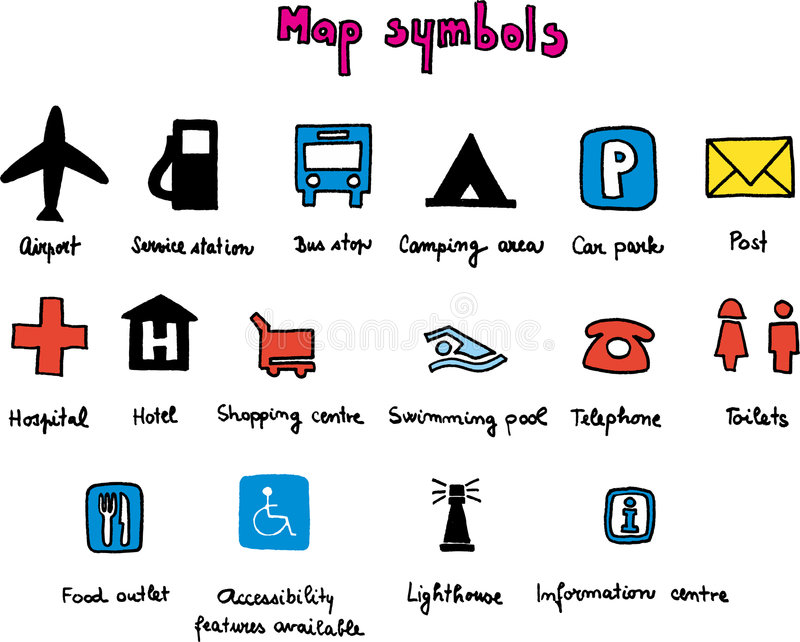 Map symbols stock illustration