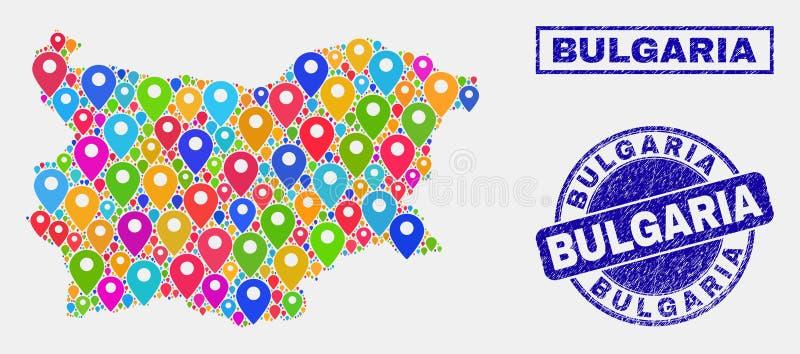 Map szpilek kolaż Bułgaria Grunge i mapy foki ilustracja wektor