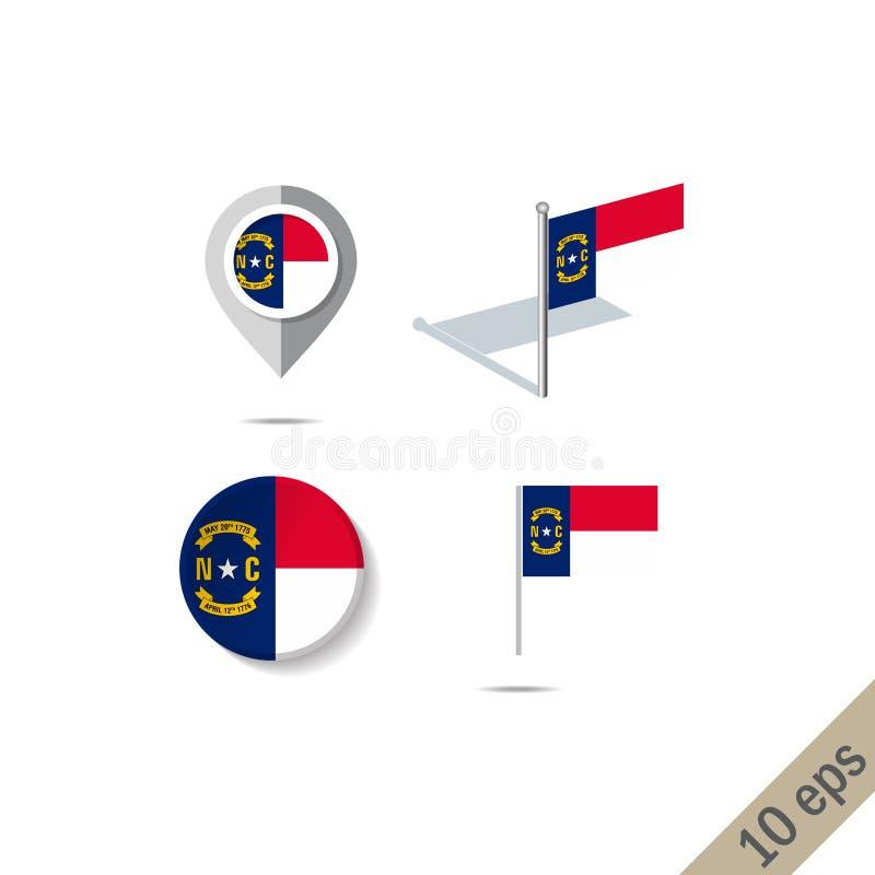 Map szpilki z flagą Pólnocna Karolina - wektorowa ilustracja royalty ilustracja