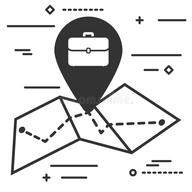 Map with tag with portfolio briefcase icon stock illustration