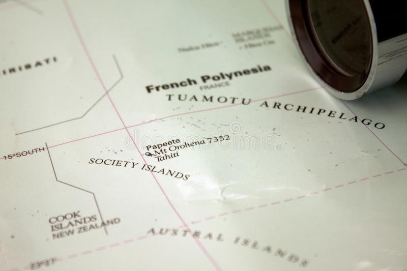 Map of Tahiti. Map with Tahiti and the Society Islands with an old spy glass royalty free stock photography