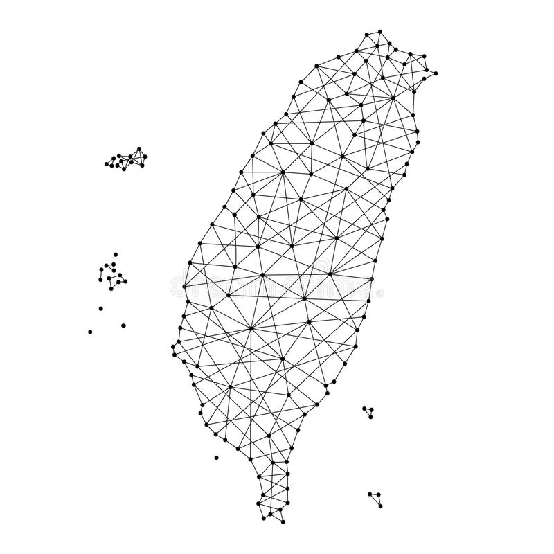 Map of Taiwan from polygonal black lines, dots of vector illustration stock illustration