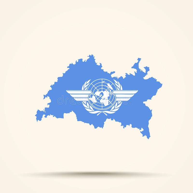 Map of Tatarstan in International Civil Aviation Organization flag colors.  royalty free illustration