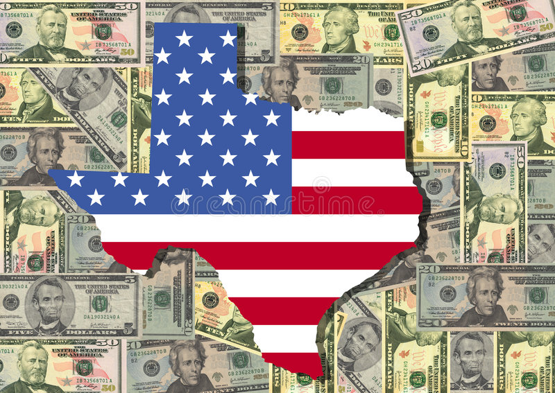 Map of Texas with cash