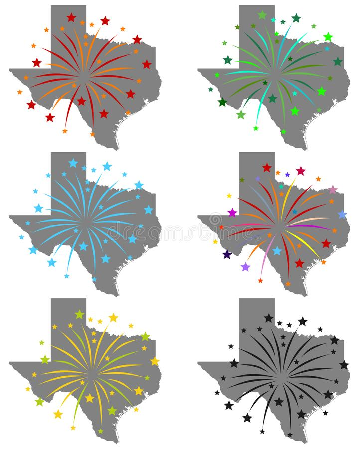 Map of Texas with fireworks. Detailed and accurate illustration of map of Texas with fireworks royalty free illustration