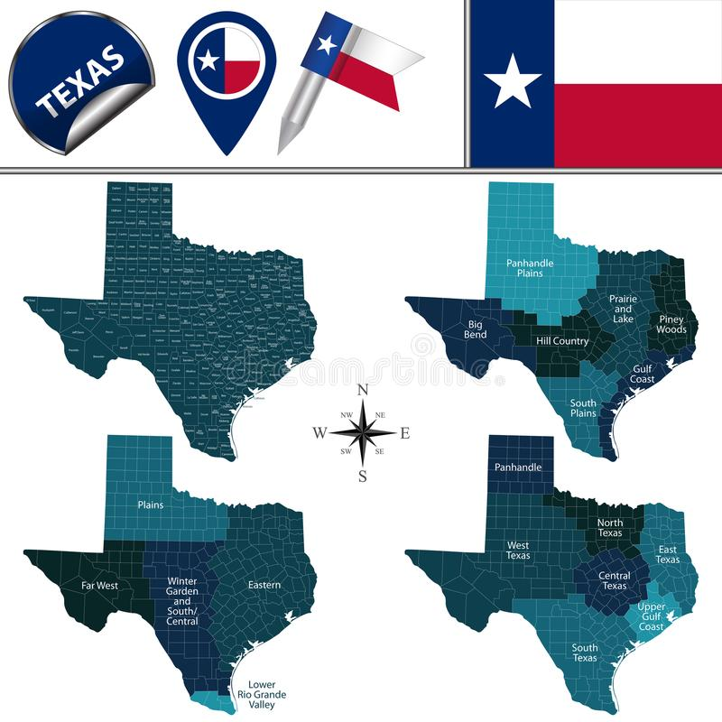 Map of Texas with Regions. Vector map of Texas with named regions and travel icons stock illustration