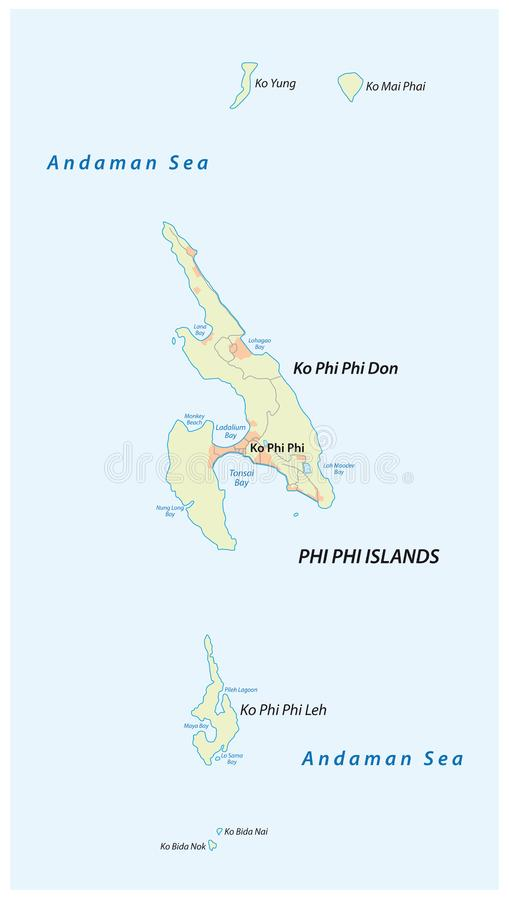 Map of the Thai archipelago of the Phi Phi islands.  stock illustration