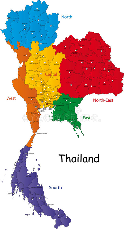 Map of Thailand. Thailand map designed in illustration with the regions and provinces with the main cities. (Map is in high resolution