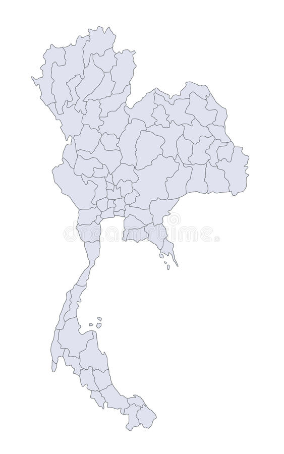 Map Thailand. A stylized map of Thailand showing the different provinces stock illustration