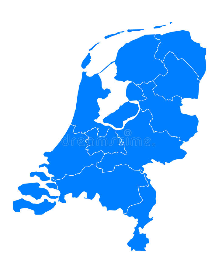 Map of thr Netherlands. Detailed and accurate illustration of map of thr Netherlands royalty free illustration