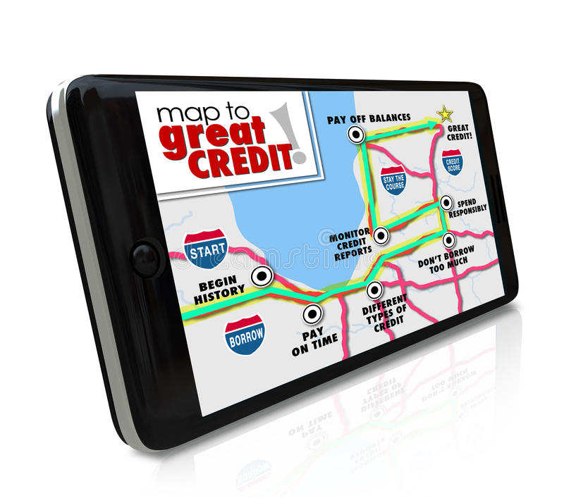 Map to Great Credit Score Rating Payment History Navigation Smart Phone App stock illustration