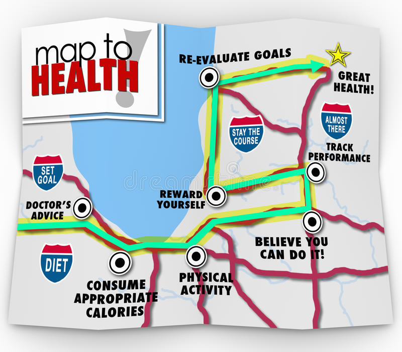 Map to Health Words Leading You to Diet Exercise Plan Goal royalty free illustration