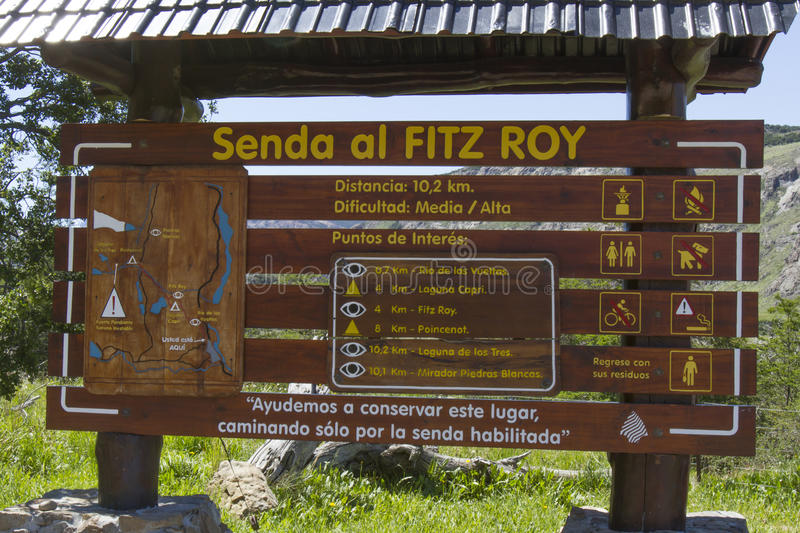 Map to hiking Fitz Roy, Patagonia, Argentina royalty free stock photography