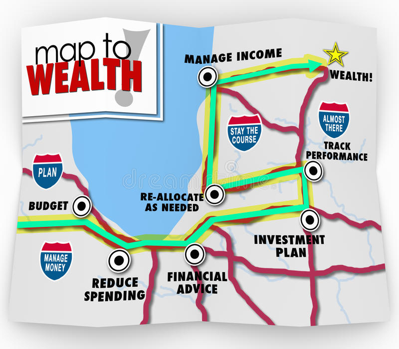 Map to Wealth Financial Advice Saving Making Money Income vector illustration