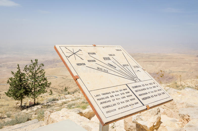 Map on top of Mount Neboin Jordan where Moses viewed the Holy La stock image