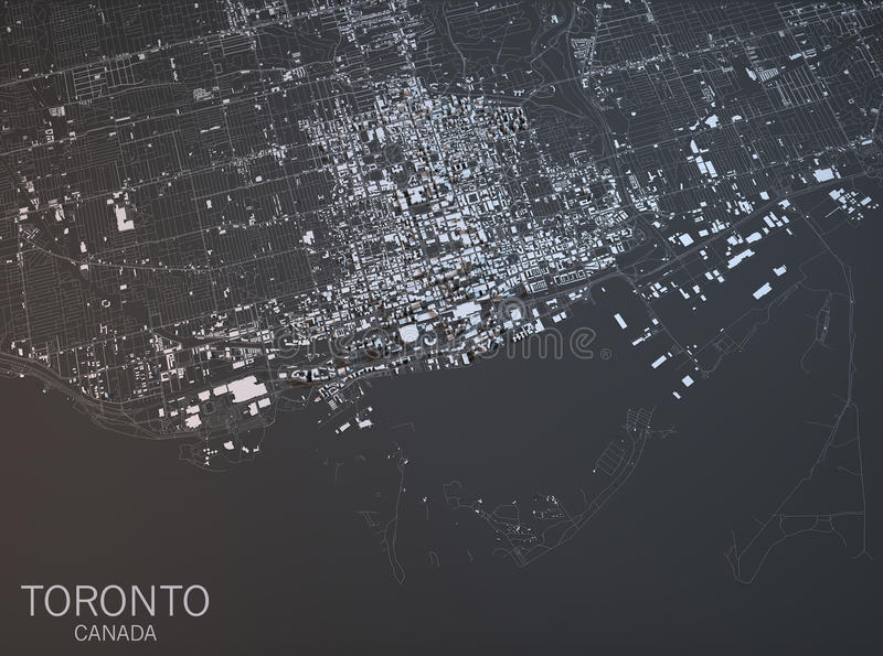 Map of Toronto, satellite view, city, Ontario, Canada. 3d rendering stock illustration