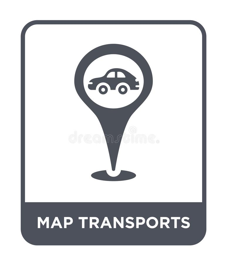 Map transports icon in trendy design style. map transports icon isolated on white background. map transports vector icon simple. And modern flat symbol for web stock illustration