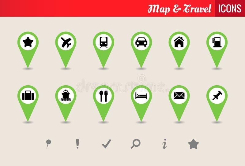 Map & Travel Vector Icon Set stock illustration