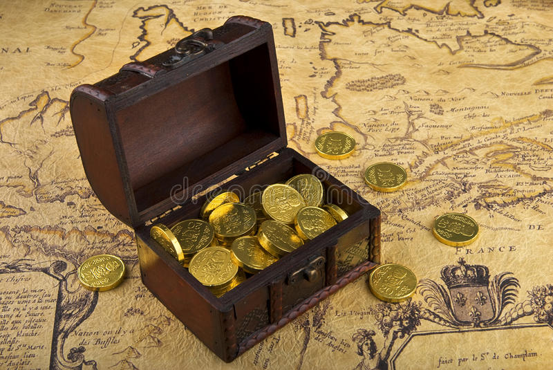 Map and treasure chest stock photos