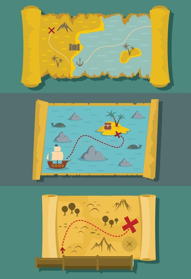 Map of treasure banner horizontal set, flat style stock illustration