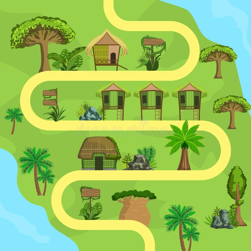 Map of Tropical Island with Bungalows, Top view, Summer Travel, Beach Resort Vector Illustration. Web Design royalty free illustration