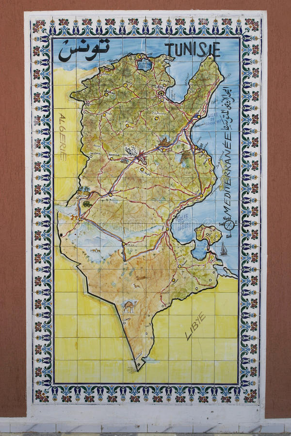 Download Map Of Tunisia Drawn On Tiles Stock Image - Image: 19038543