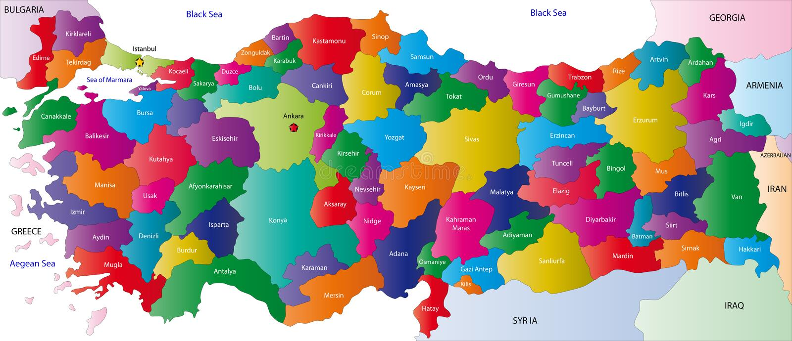 Map of Turkey. Turkey map designed in illustration with the regions colored in bright colors and with the main cities. On an illustration neighbouring countries