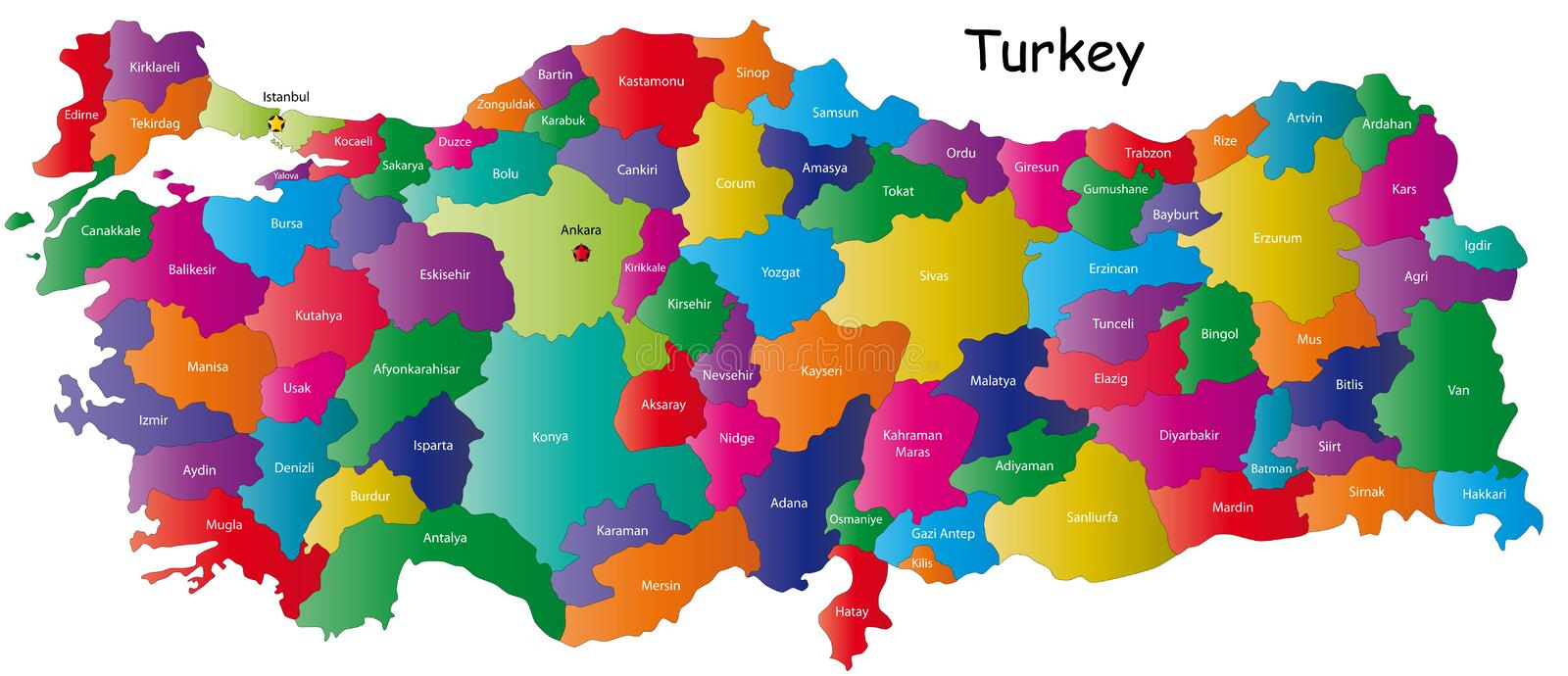 Map of Turkey. Turkey map designed in illustration with regions colored in bright colors. Vector illustration vector illustration